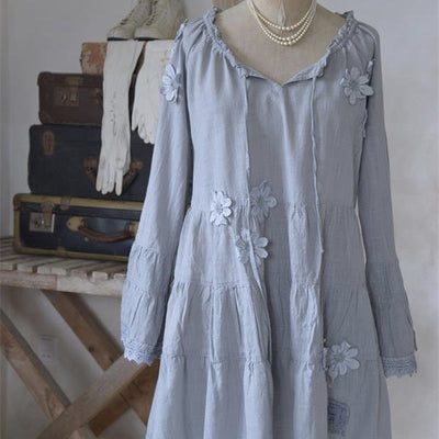 "Jeanne d' Arc Living ""Vintage Flowers"" Dress - Grey Blue, JDL-Jeanne d'Arc Living, Putti Fine Furnishings"