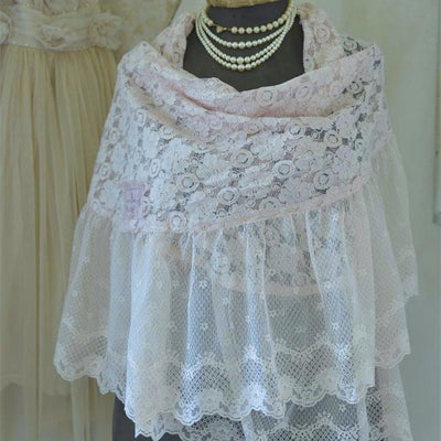 "Jeanne d'Arc Living ""Beautiful Spirit"" Lace Shawl - Powder Rose, JDL-Jeanne d'Arc Living, Putti Fine Furnishings"