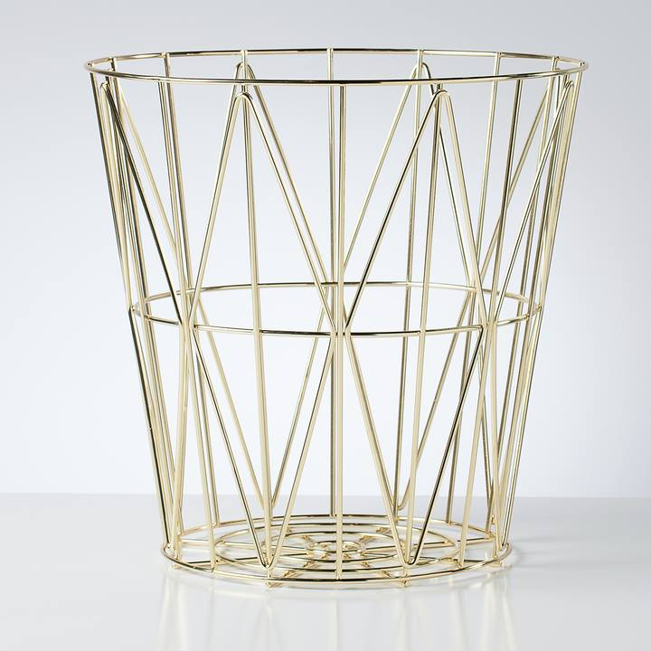 Gold Diamond Weave Storage Basket