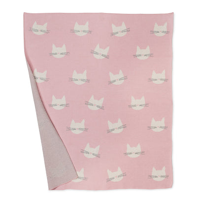 Cute Cat Face Pink Baby Blanket