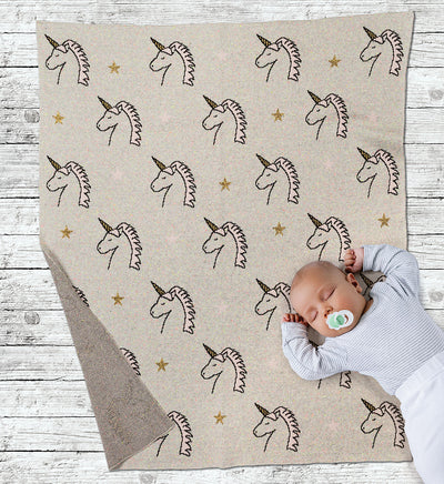 Unicorn Head Baby Blanket