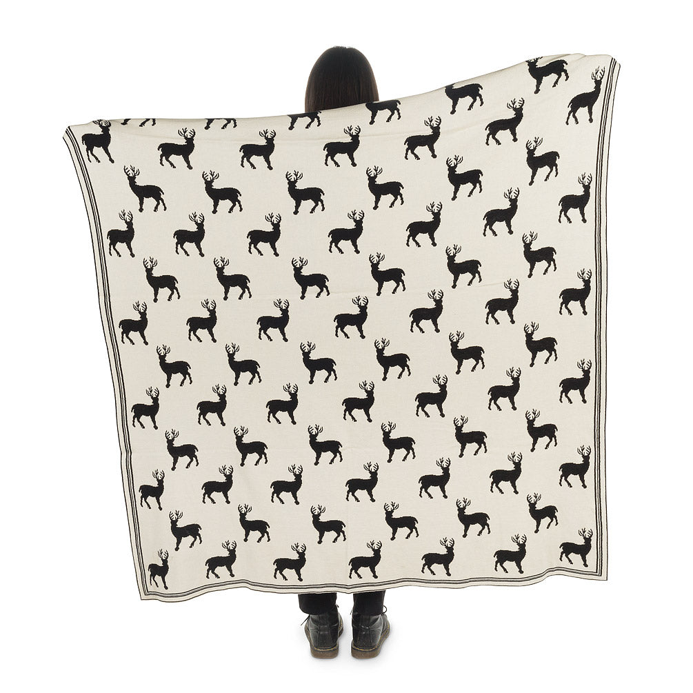 Black and Ivory Reindeer Knit Throw