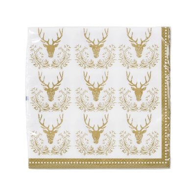 Party Porcelain Gold Stag Luncheon Napkins, TT-Talking Tables, Putti Fine Furnishings