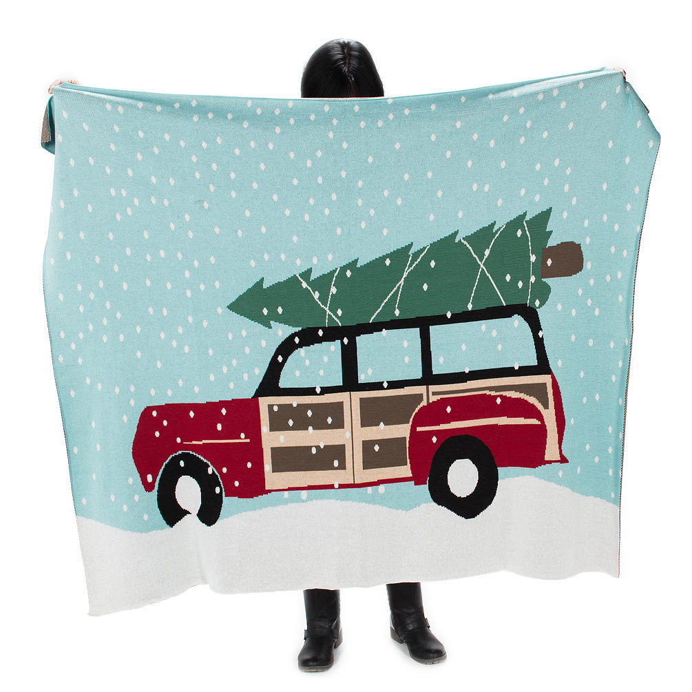 """Car with Tree"" Knit Winter Throw"