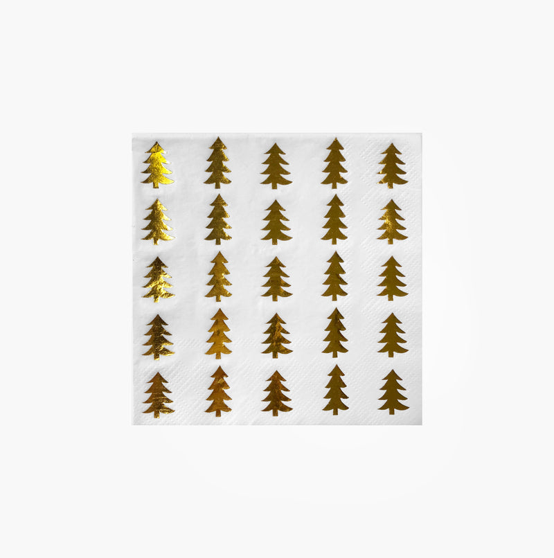 Gold Foil Tree Paper Napkins - Beverage