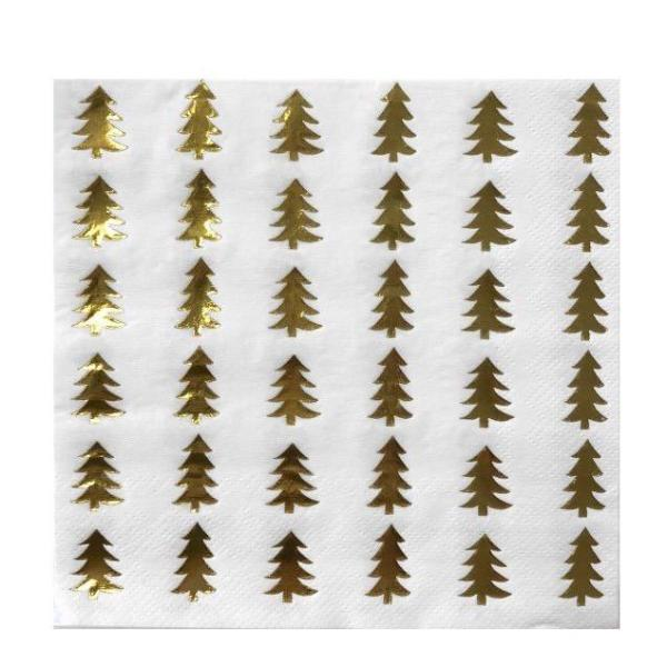 Gold Foil Tree Paper Napkins - Lunch