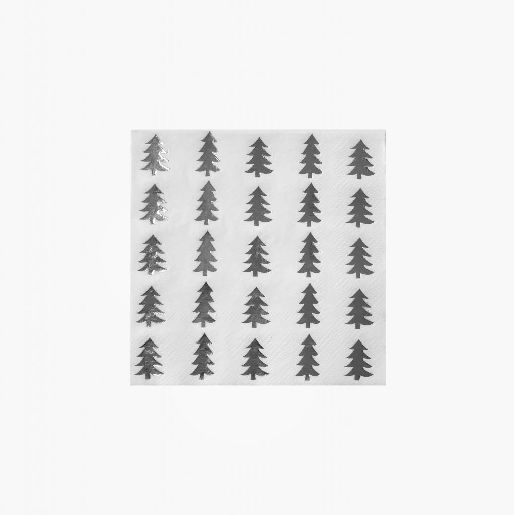 Christmas Tree silver Foil Paper Napkins - Beverage | Putti Christmas