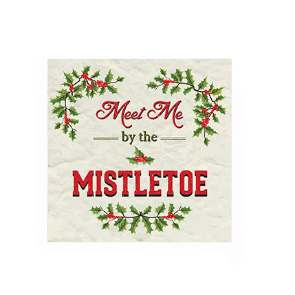 """Meet Me Under the Mistletoe"" Paper Napkin - Cocktail"