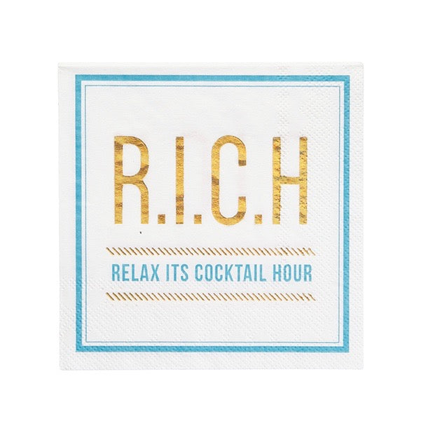 """Relax it's cocktail hour"" Paper Napkin - Beverage - Putti Party Canada"