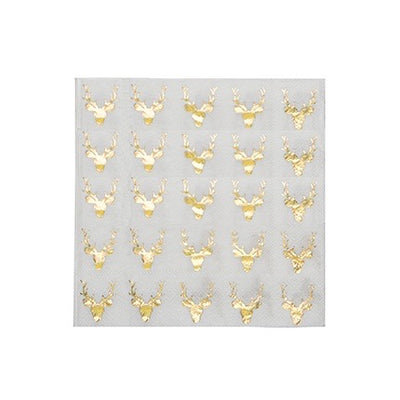 Stag Gold Foil Paper Napkins - Lunch