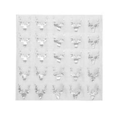 Silver Foil Stag Paper Napkins - Lunch