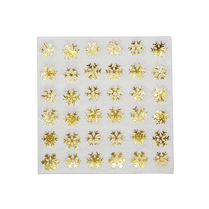 Gold Foil Snowflake Paper Napkins -Lunch