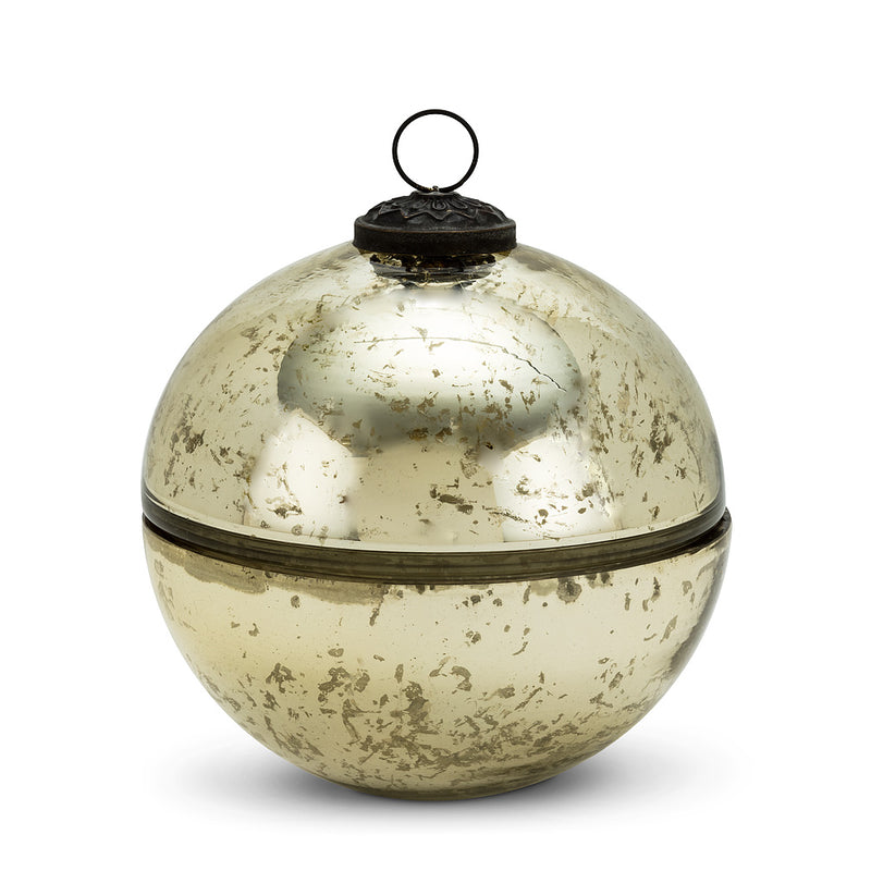 Large Ornament Covered Candle - Champagne | Putti Christmas Canada