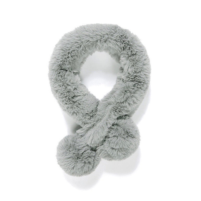 Grey Faux Fur Double Pom Pom Collar | Putti Fine Fashions Canada