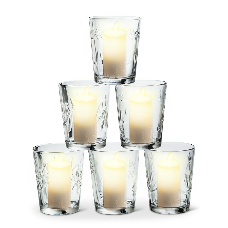 Cut Glass Votive Holder - Tall
