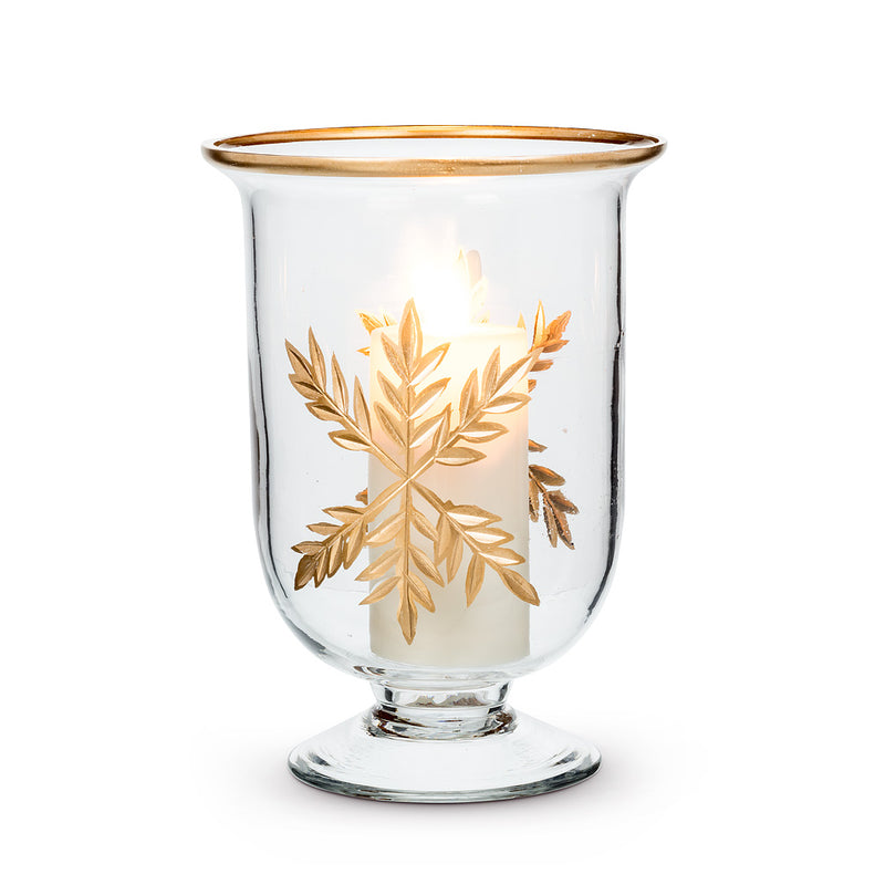 Small Gold Snowflake Hurricane - Putti Fine Furnishings Canada