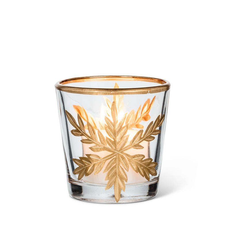 Small Gold Snowflake Tealight Holder