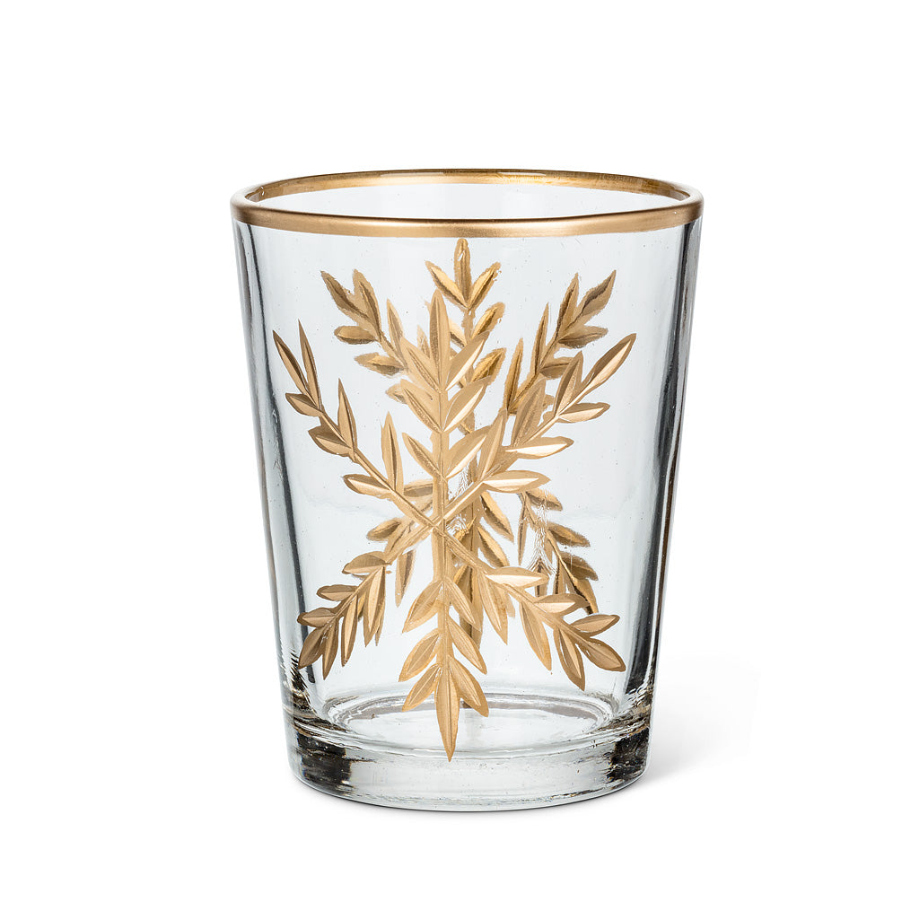 Tall Gold Snowflake Tealight Holder