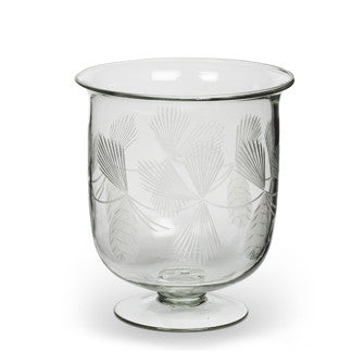 Etched Glass Pinecone Hurricane - Medium Wide, AC-Abbott Collection, Putti Fine Furnishings