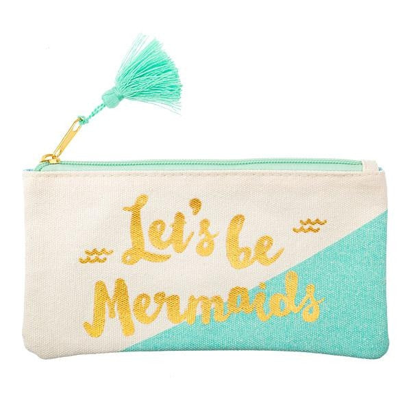 """Let's be Mermaids"" Canvas Pencil Case"