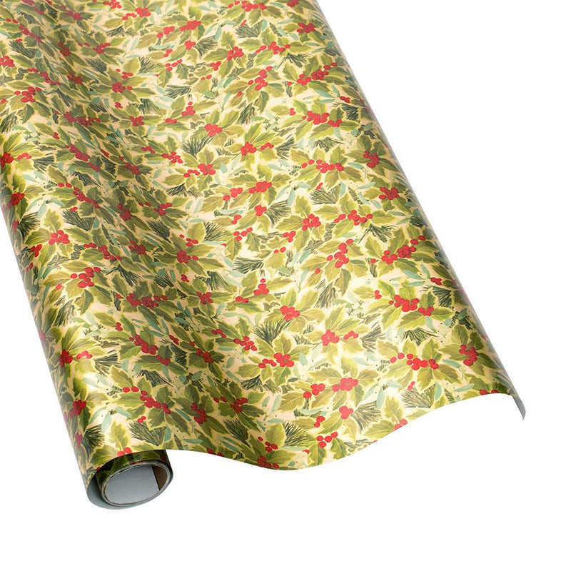 Holly and Mistletoe Christmas Wrapping Paper Roll