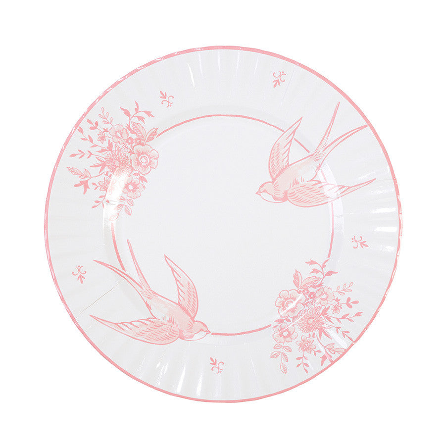 Party Porcelain Rose Paper Plates - Large