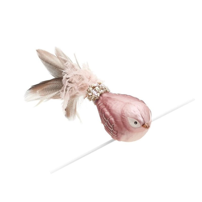 Pink Glass Bird with Feather Tail Ornament  | Putti Christmas Decorations