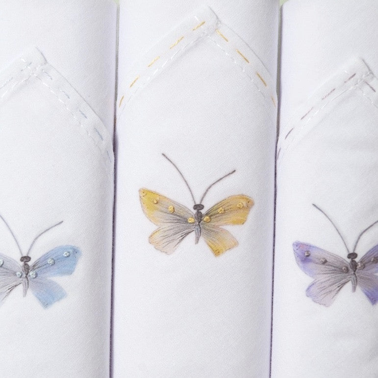 "Tamielle ""Butterfly"" Set of Three Embroidered Hankies -  Personal Accessories - Tamielle - Putti Fine Furnishings Toronto Canada - 1"