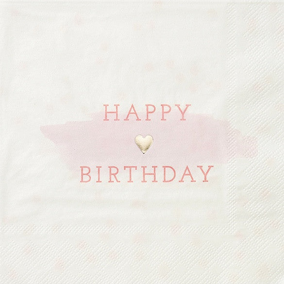 """We Heart Pink"" Happy Birthday Napkins - Large -  Party Decorations - Talking Tables - Putti Fine Furnishings Toronto Canada - 1"