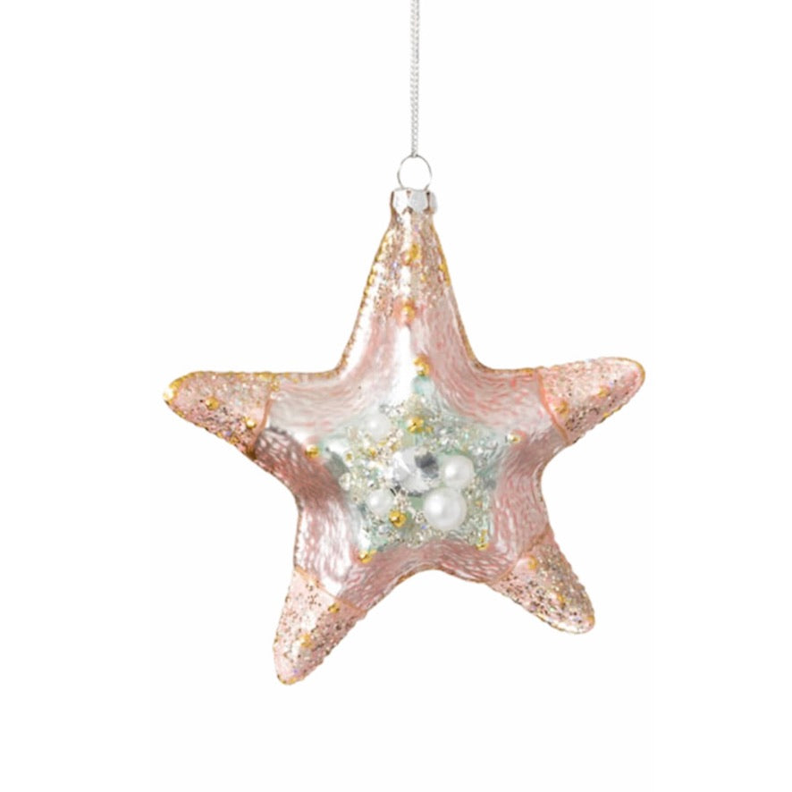 Jewelled Pink Starfish Glass Ornament | Putti Christmas Canada