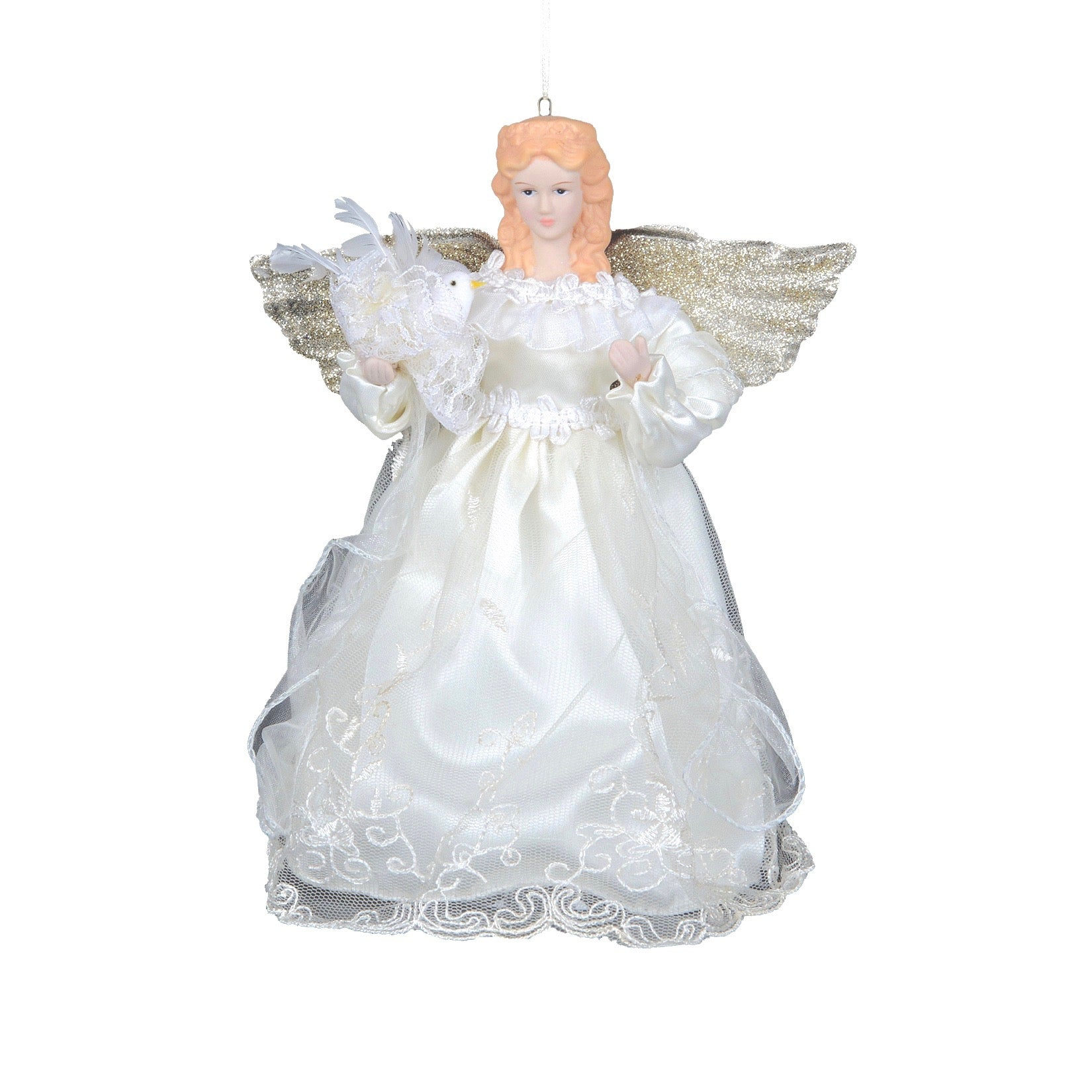Cream and Gold Hanging Angel Ornament - Putti Christmas Canada