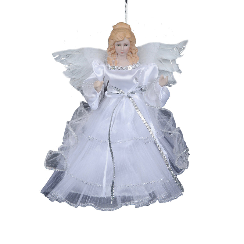 White and Silver Hanging Angel Ornament | Putti Christmas Canada