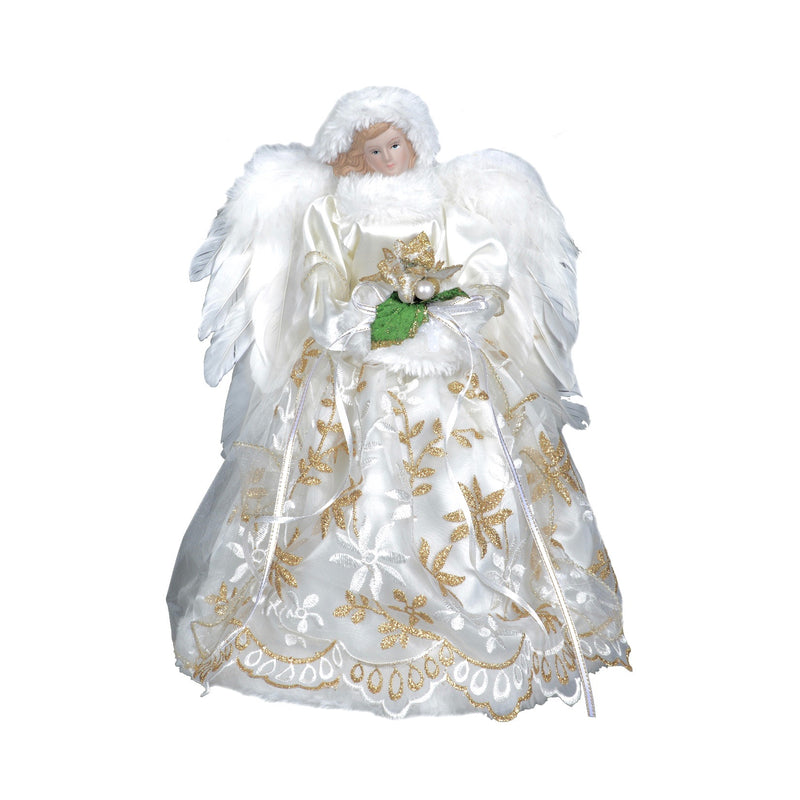 Ivory and Gold Angel with Embroidered Skirt Christmas Tree Topper | Putti Christmas Canada
