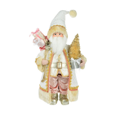 Gold Standing Santa with Tree and Gift Bag | Putti Christmas Canada