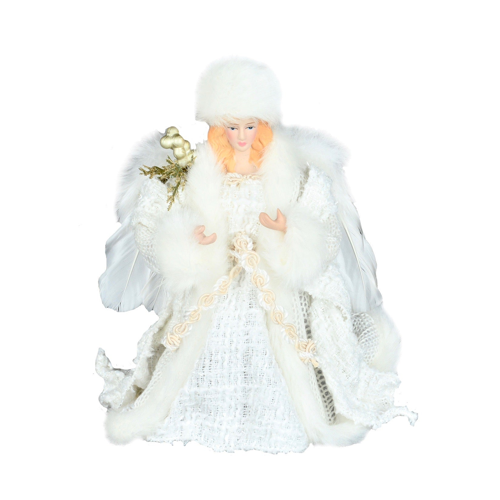 White Angel with Silver Berries Christmas Tree Topper | Putti Christmas  Toronto Canada