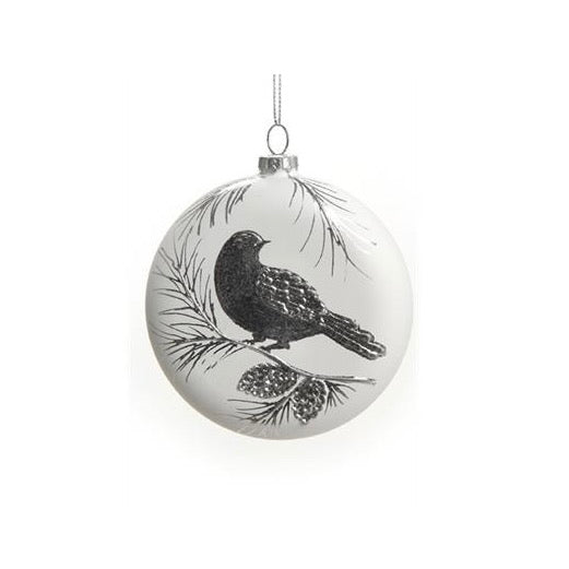Black and White Bird Large Glass Ball Ornament