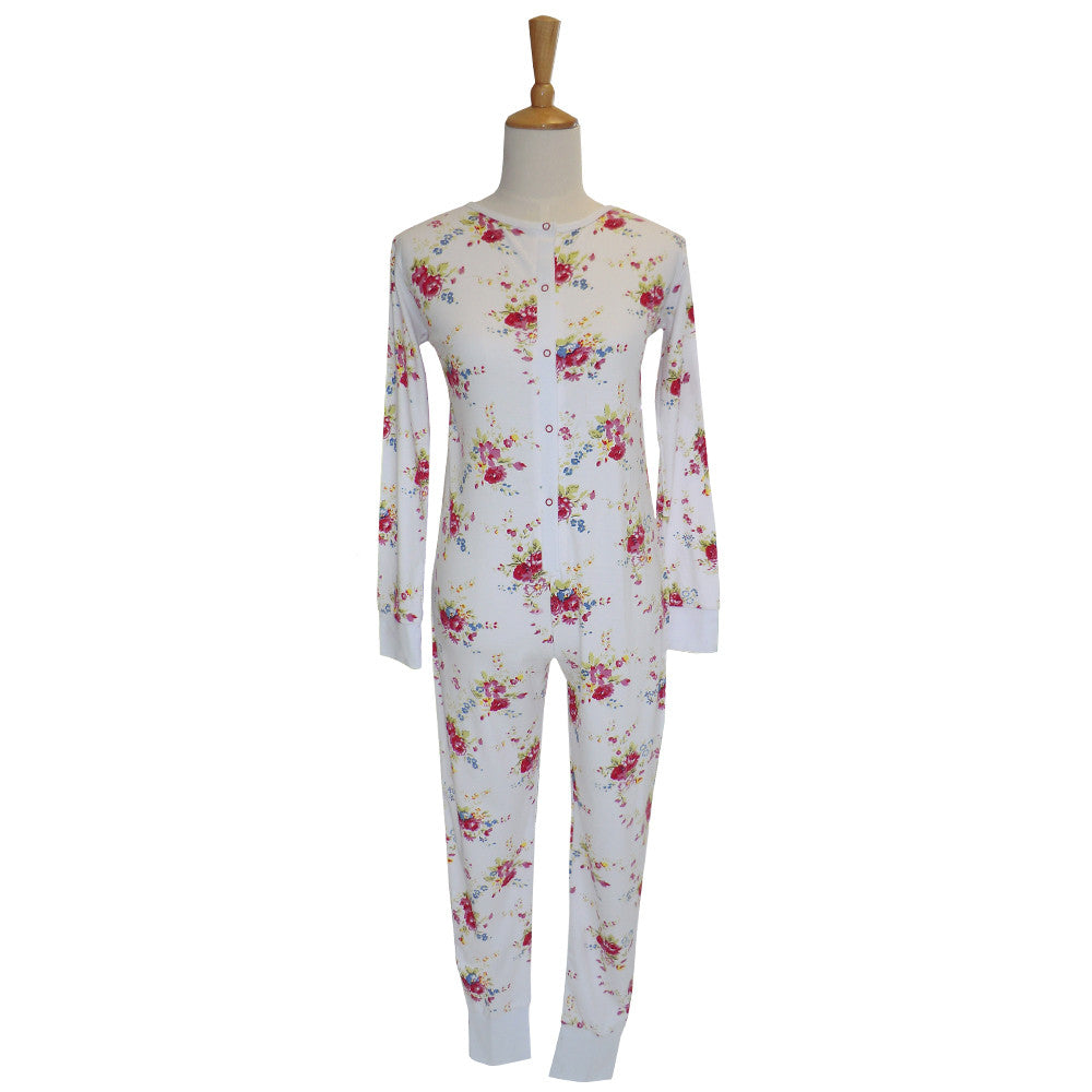 Mixed Floral Ladies Onesie - Small Sleepware - Powell Craft Uk - Putti Fine Furnishings Toronto Canada - 1