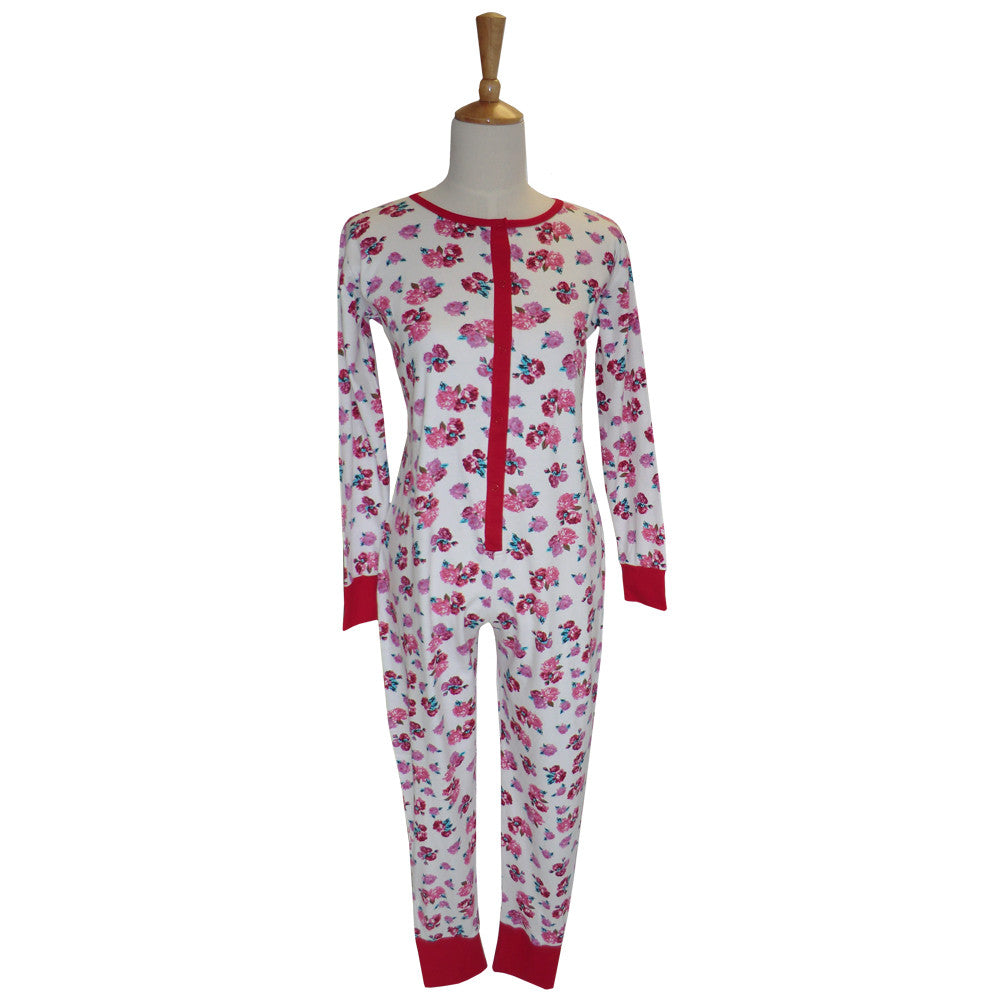 Red Rose Ladies Onesie-Sleepware-PC-Powell Craft Uk-Small-Putti Fine Furnishings