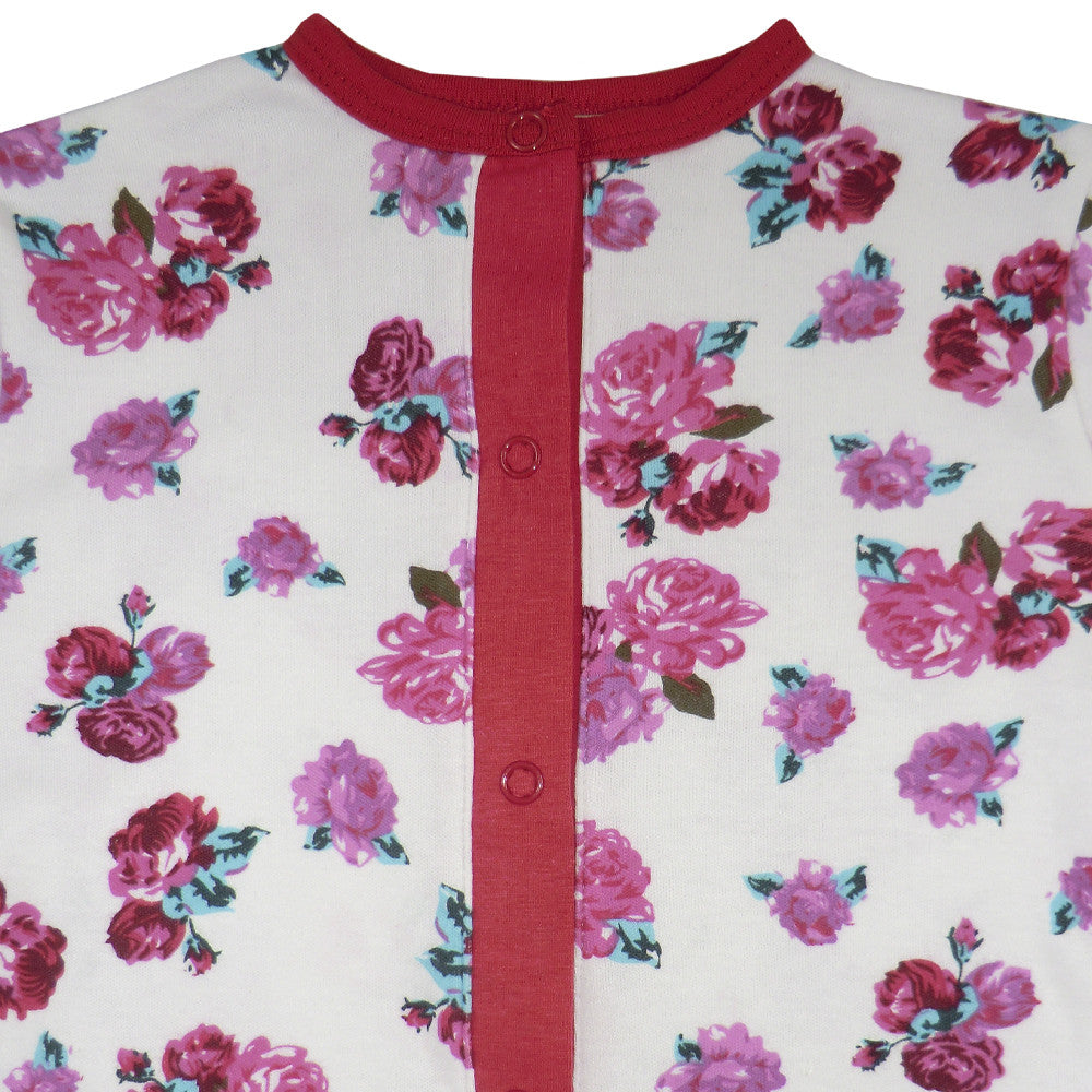 Red Rose Floral Onesie -  Nightwear - Powell Craft Uk - Putti Fine Furnishings Toronto Canada - 2