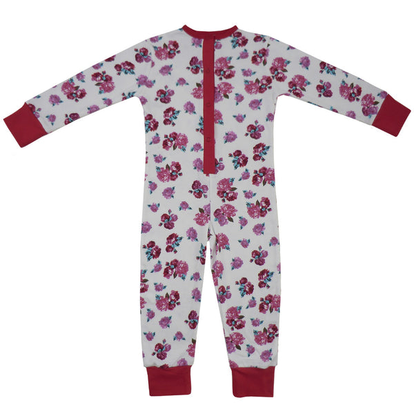 Red Rose Floral Onesie-Nightwear-PC-Powell Craft Uk-2 to 3-Putti Fine Furnishings