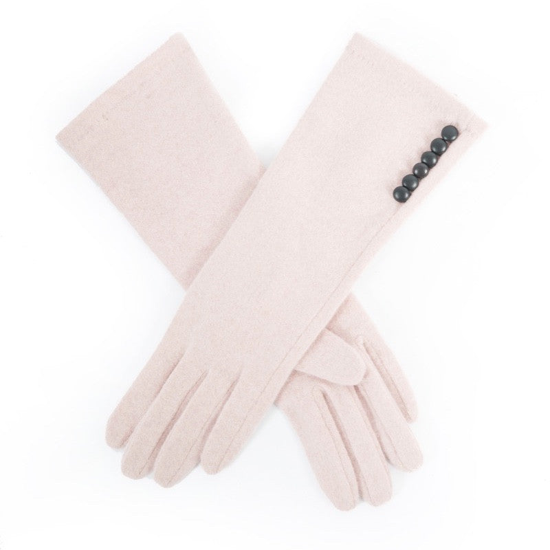 "Powder ""Arrabella"" Wool Gloves - Pale Pink/Black, PDL-Powder Design Limited, Putti Fine Furnishings"