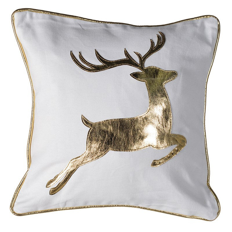 Gold Stag Cushion -  Christmas - Coach House / Abbot Collection - Putti Fine Furnishings Toronto Canada