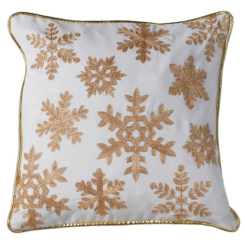 Gold Snowflake Cushion -  Christmas - Coach House / Pine Center - Putti Fine Furnishings Toronto Canada