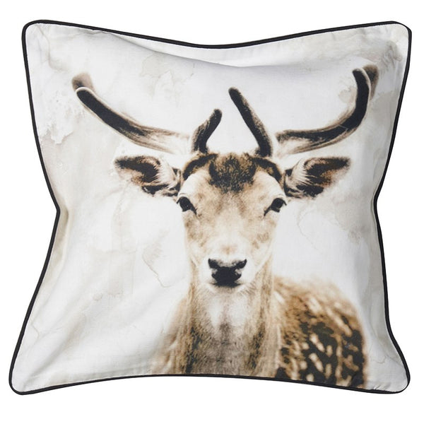 Deer Head Cushion -  Christmas - Coach House / Abbot Collection - Putti Fine Furnishings Toronto Canada