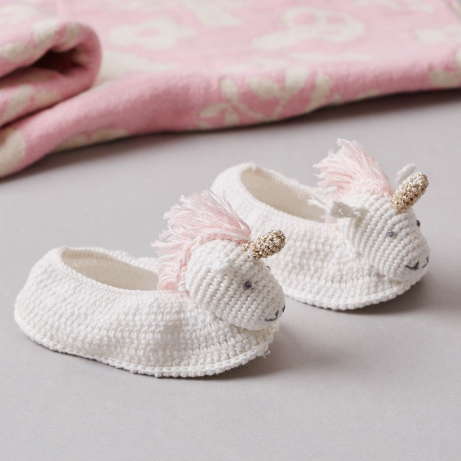 Albetta Crochet Unicorn Booties -  Children's - AUK-Albetta UK - Putti Fine Furnishings Toronto Canada - 4