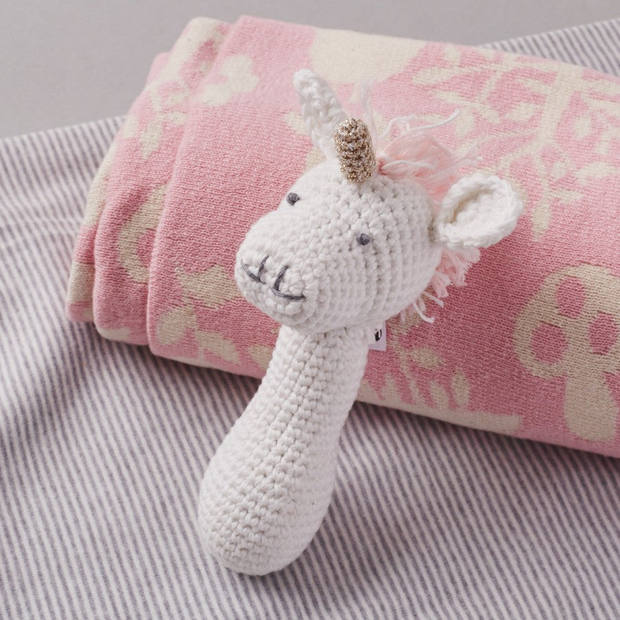 Albetta Crochet Unicorn Rattle -  Children's - AUK-Albetta UK - Putti Fine Furnishings Toronto Canada - 1