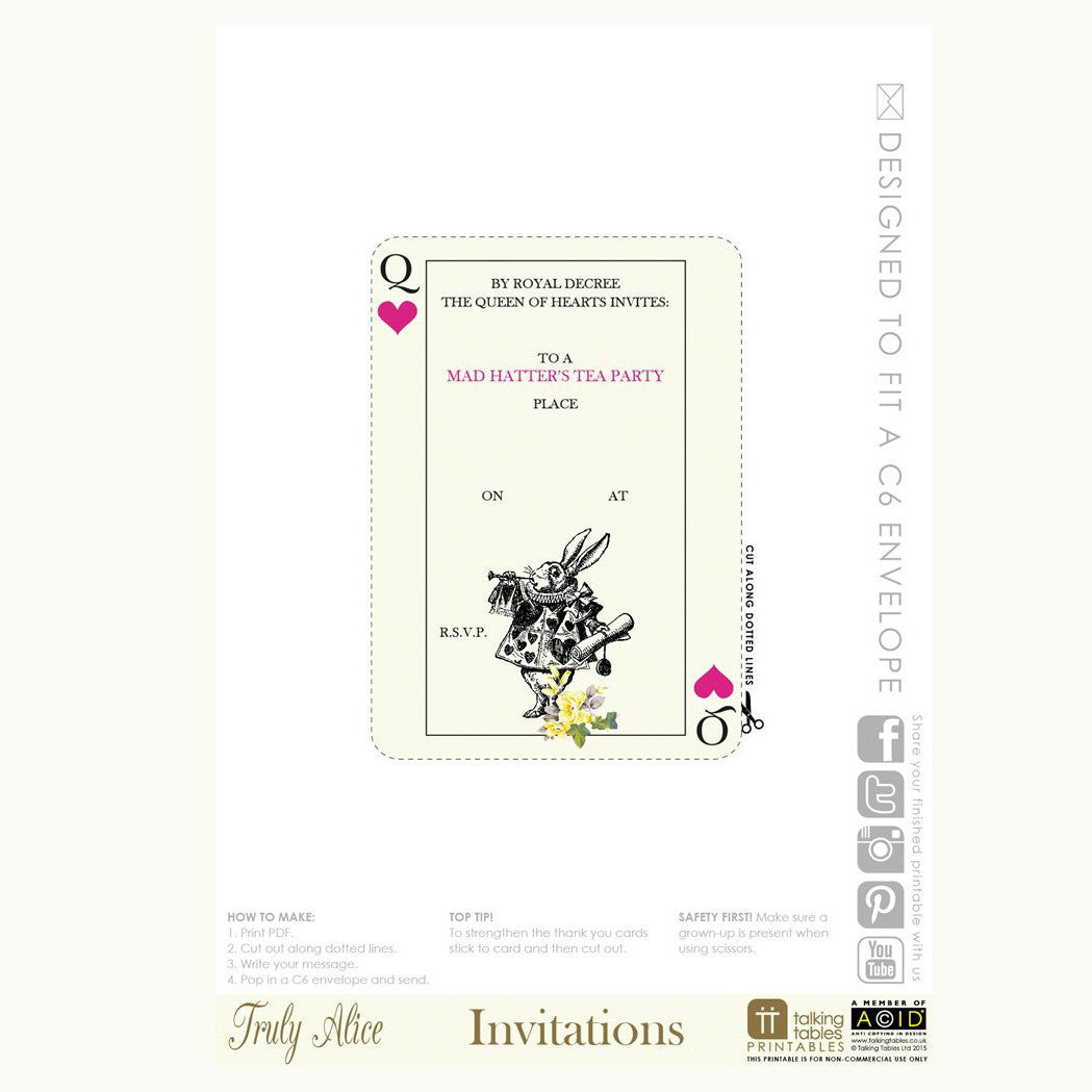 picture relating to Printable Alice in Wonderland referred to as Alice in just Wonderland - No cost Printable PDF Invites - Putti