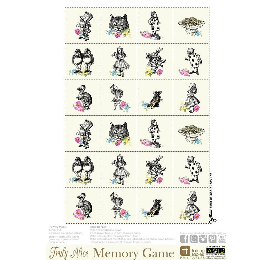 Truly Alice - Free Printable Memory Game, TT-Talking Tables, Putti Fine Furnishings
