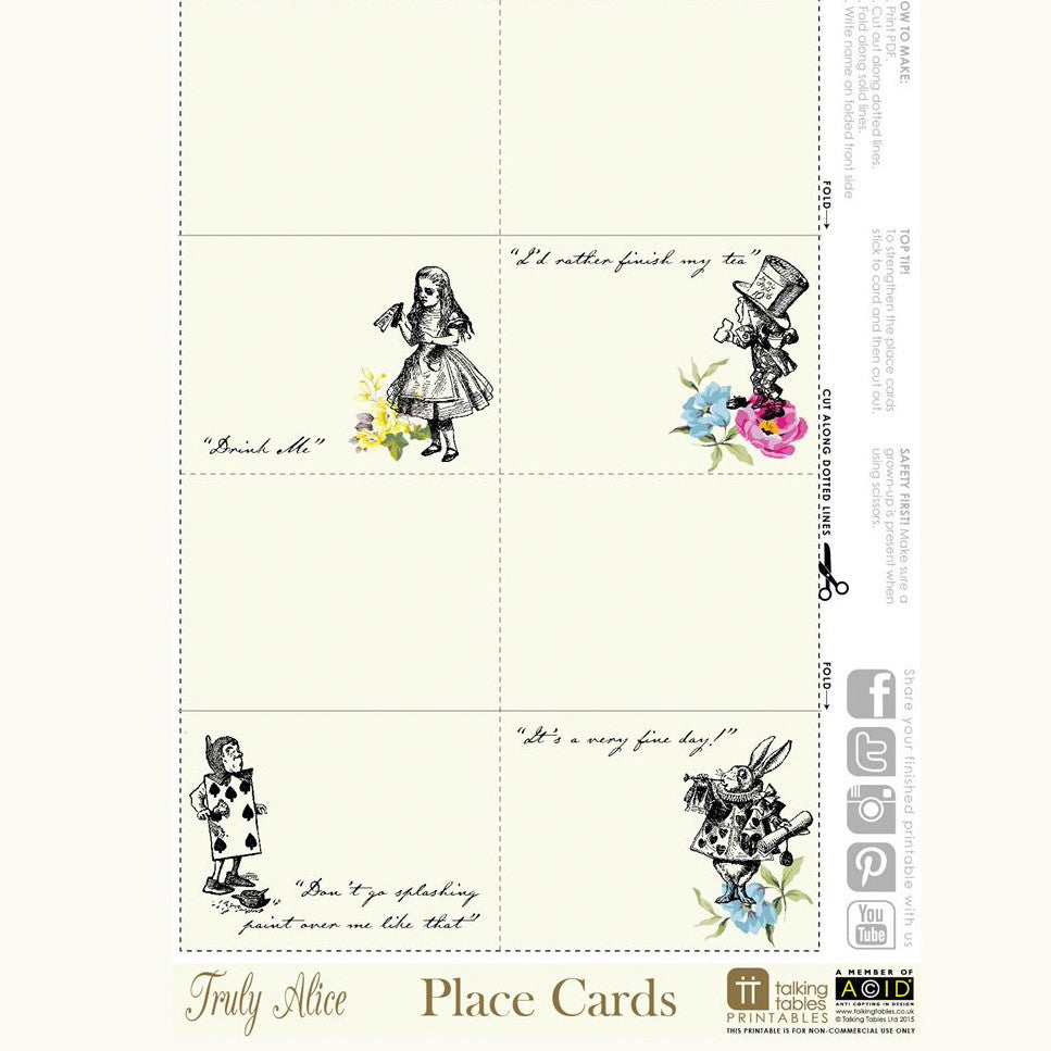 graphic about Free Printable Place Cards referred to as Alice inside Wonderland - Free of charge Downloadable PDF Placecards