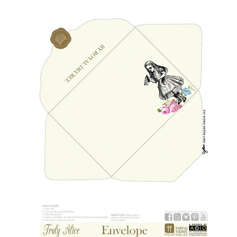 Truly Alice - Free Printable Envelope, TT-Talking Tables, Putti Fine Furnishings